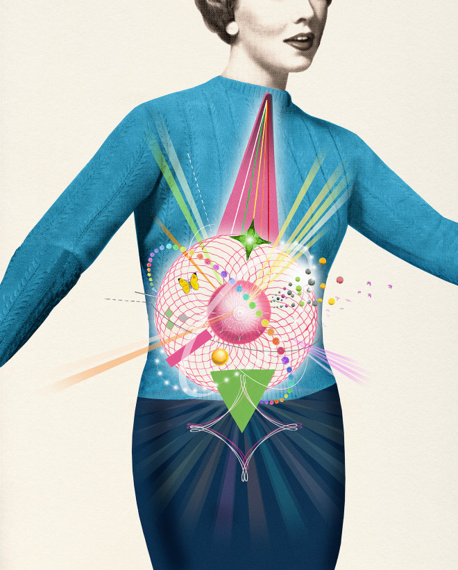 Healthy digestive system as lively pattern over womans abdomen